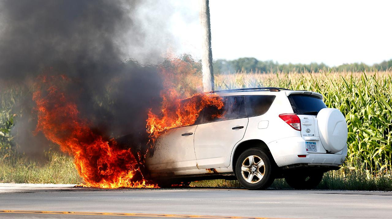The Waupun Fire Department works to put out a car fire on State 26. (Sept. 3, 2017)