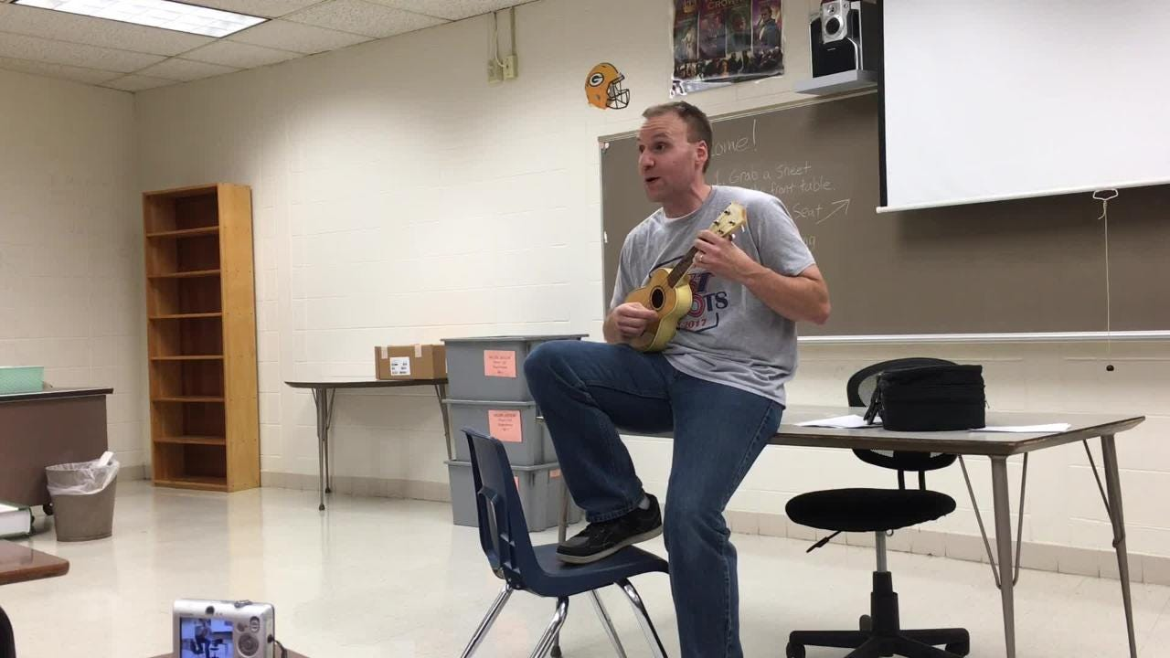 Appleton East teacher Paul Miller parodies a popular song to welcome his students back to school on Tuesday. (Sept. 5, 2017)