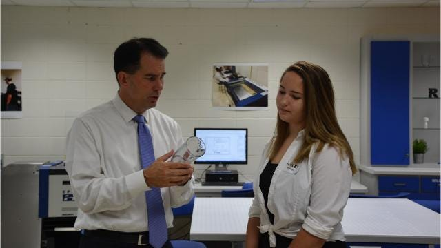 Gov. Scott Walker visited Southern Door High School to tour the school's state-of-art fabrication facility or fab lab.