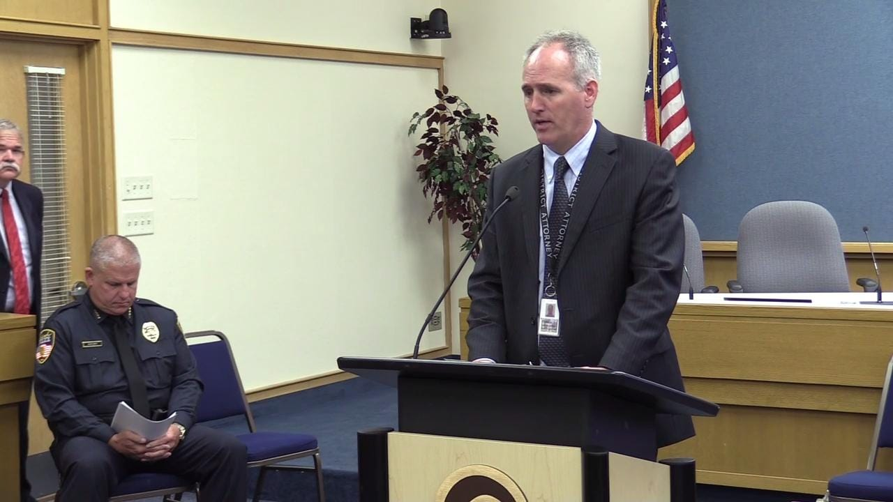 Winnebago County District Attorney Christian Gossett shares the findings from a state investigation into the July 31 fatal shooting involving Oshkosh police. (Sept. 7, 2017)
