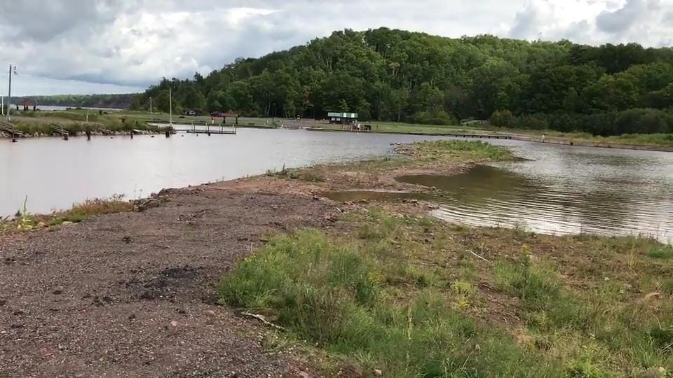 Iron County Forest Administrator Eric Peterson describes the flood damage sustained in July 2016 on Saxon Harbor on Lake Superior.