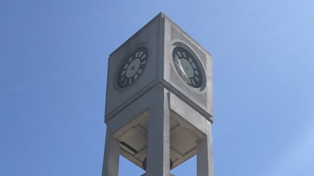 The clock was first installed in 1892 in Wisconsin Rapids. In 2017, the clock's mechanism was restored and reinstalled into the Memorial Clock and Bell Tower.