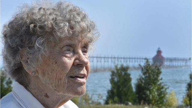 Judy Meneau of Manitowoc was surprised to arrive for a tour of the Sturgeon Bay Coast Guard Station to celebrate her 91st birthday.