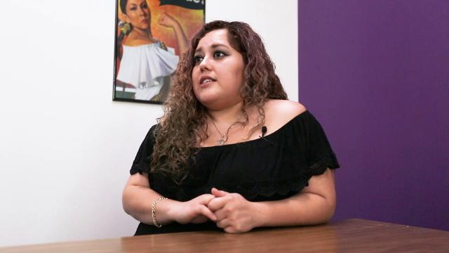 University of Wisconsin-Stevens Point students Brigitte Benitez-Vargas and Vanesa Hernandez Cevallos speak about their experiences with immigration in Stevens Point, Wis. on September 15, 2017.