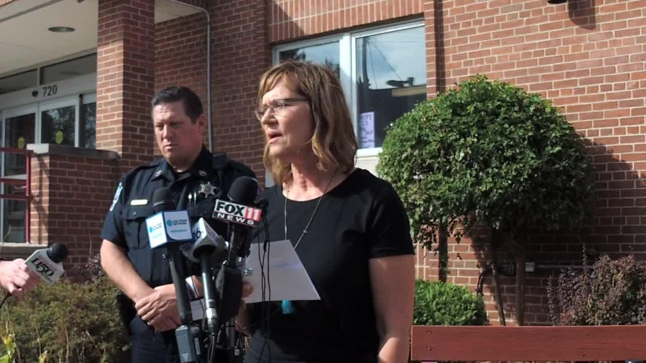 Sgt. Dave Lund of the Appleton Police Department, and Beth Schnorr, executive director of Harbor House, speak to reporters Thursday after the fatal shooting of Annie Ford.