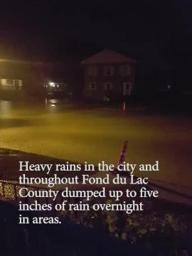 Heavy rainfall causes street flooding in Fond du Lac