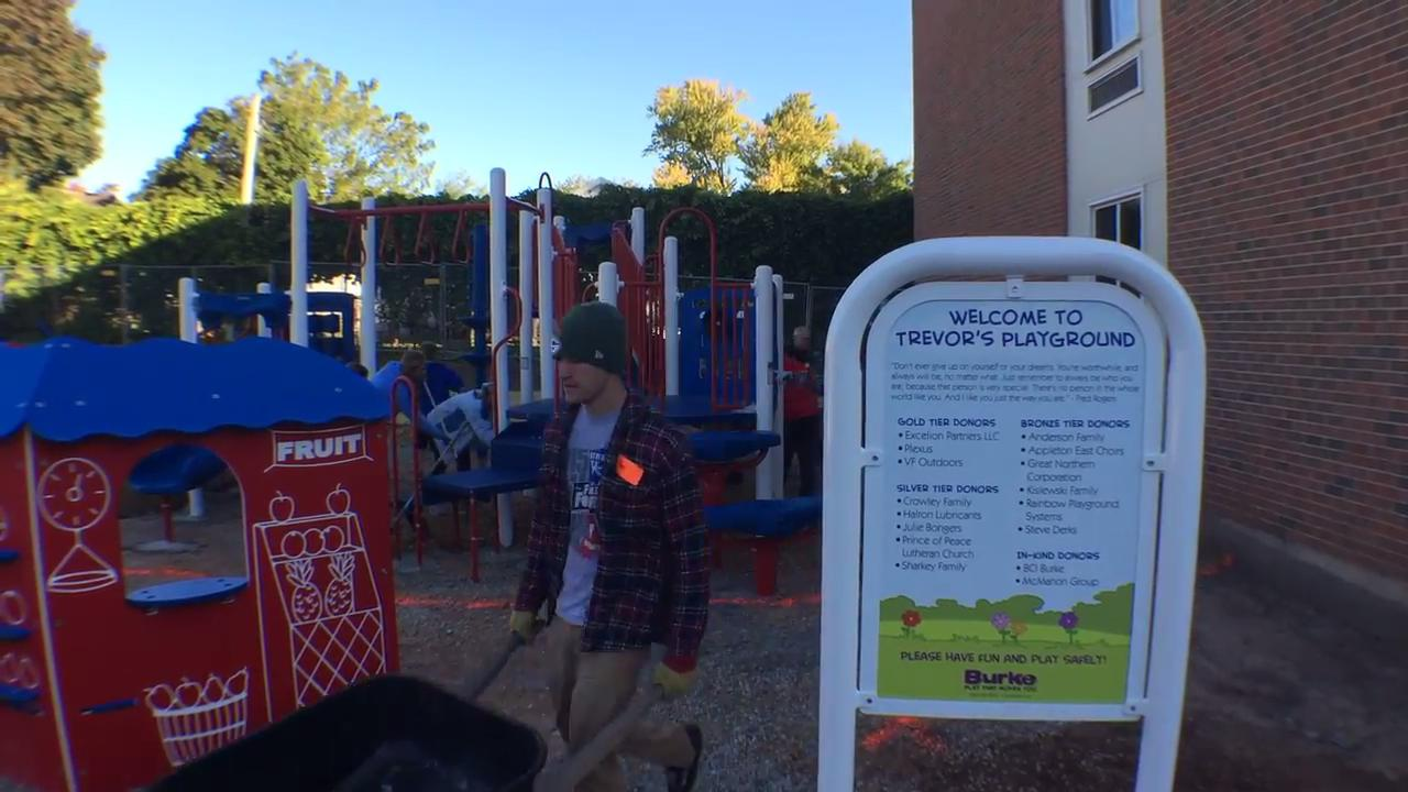 Harbor House Domestic Abuse Programs in Appleton got a new playground this weekend - a project of Eagle Scout Trevor Kislewski that took two years to complete.