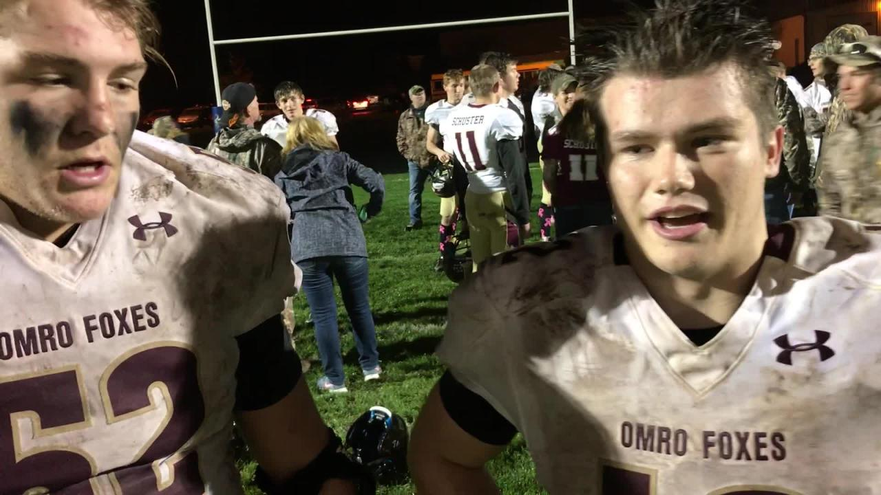 Omro football players Jack Dietzen (left) and Jacob Kafer talk about the Foxes' 12-7, playoff-clinching win over Winnebago Lutheran