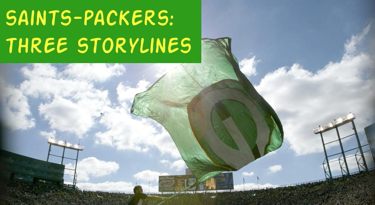 A quick overview of three storylines that could help determine the outcome when the New Orlean Saints take on the Green Bay Packers Sunday afternoon at Lambeau Field.