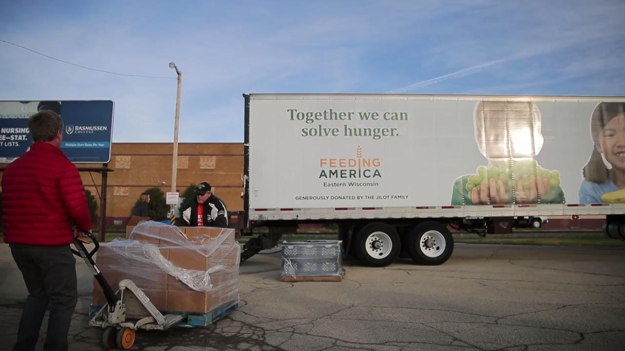 A Feeding America mobile pantry event Thursday in Appleton was part of the kickoff of Stock the Shelves, a statewide campaign by USA TODAY NETWORK-Wisconsin to rally readers' donations to fight hunger in their communities.