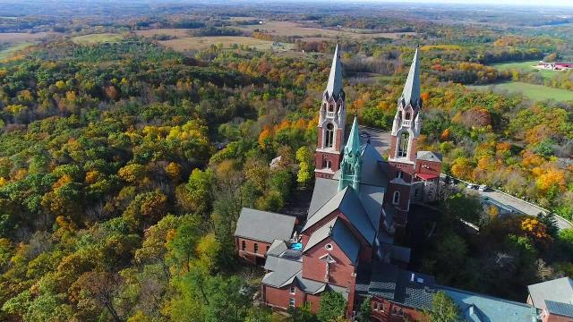 Drone video of Holy Hill in the fall