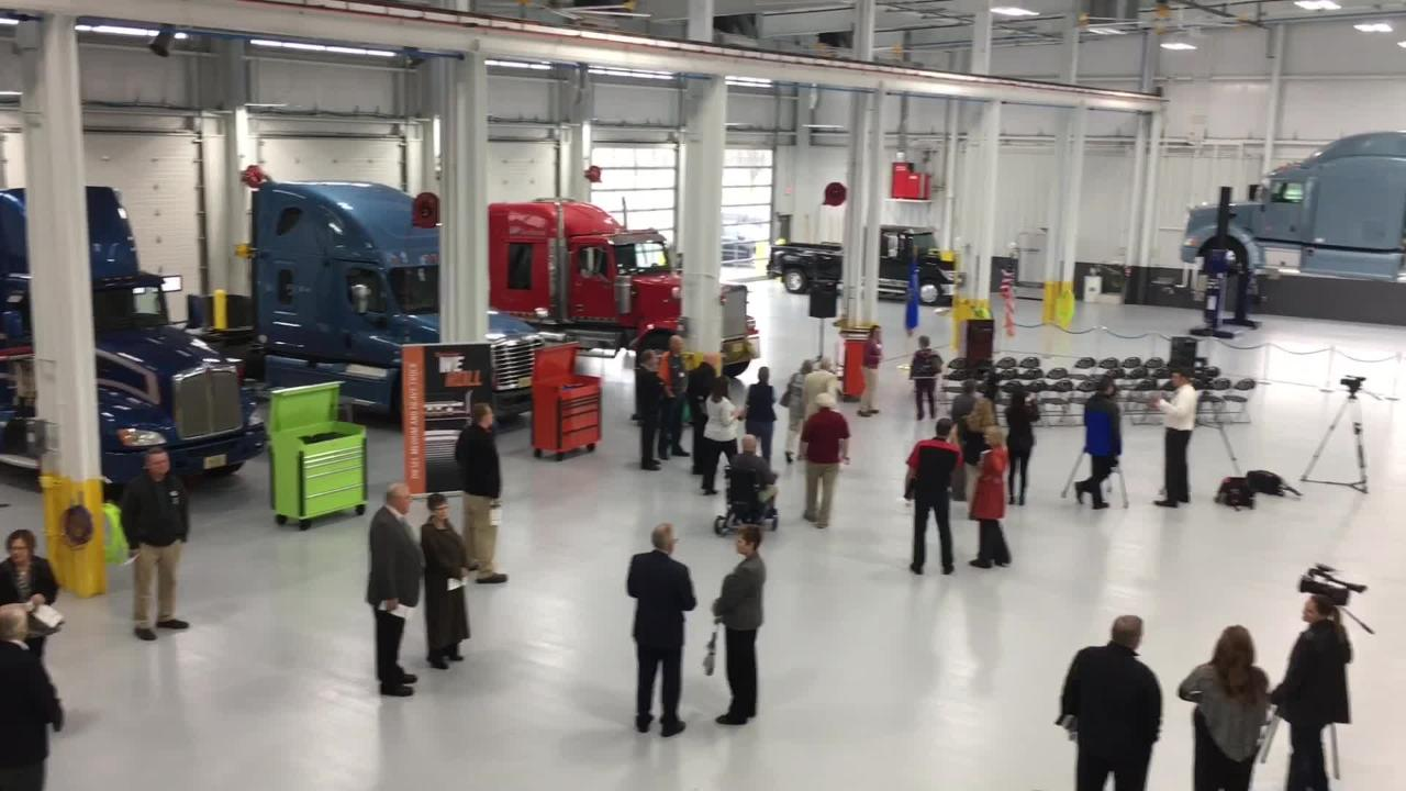 Northeast Wisconsin Technical College rolled a truck through the ribbon Monday to open its new, 60,000-square-foot transportation center on its Green Bay campus. Oct. 23, 2017.