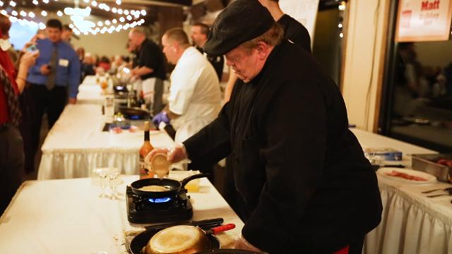Four local chefs compete against each other to prepare the best dish using a surprise ingredient, bone-in lamb loin, during the annual Iron Chef Competition fundraiser for Shirley's House of Hope on November 2, 2017 in Marshfield, Wis.