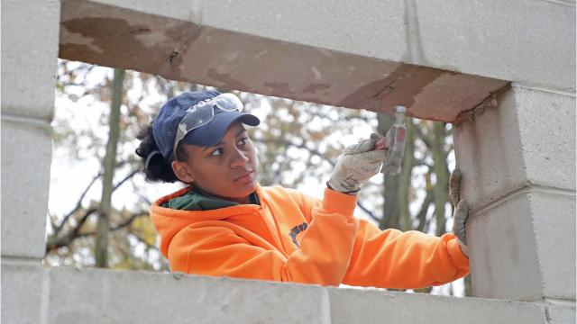 Jye Jude, 19, is the only woman in her masonry classes at Northeast Wisconsin Technical. She hopes to inspire more people to take chances.