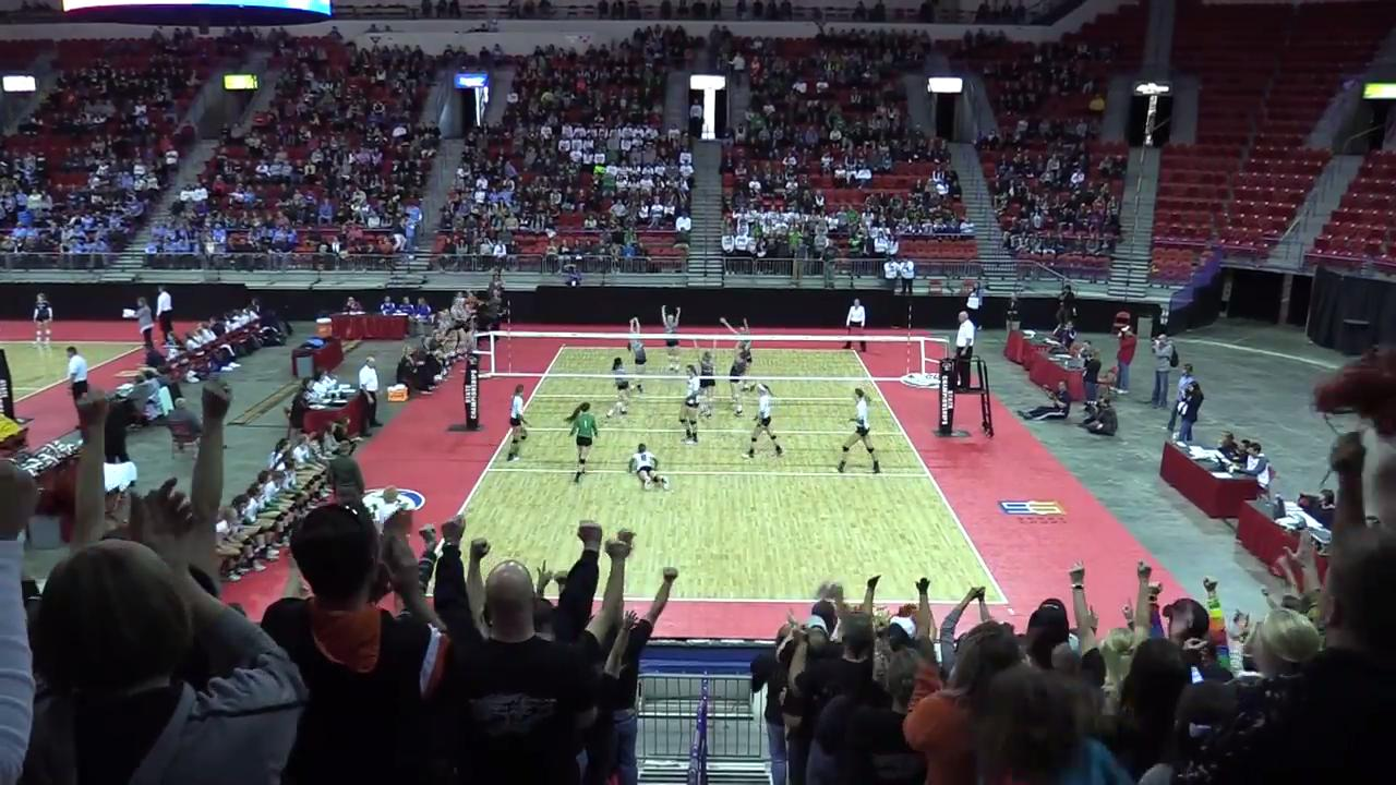Sights and sounds from semifinal games of the WIAA state girls volleyball tournament.