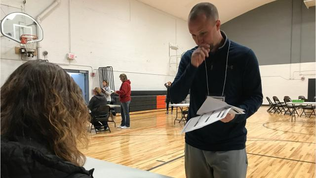 Teachers at John Edwards High School in Port Edwards participated in a hunger simulation Nov. 6, 2017.