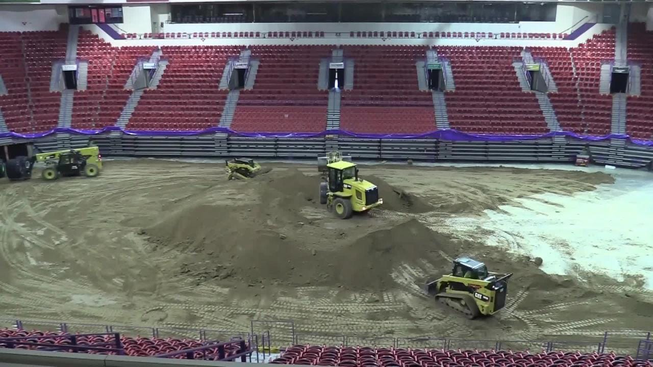 A time-lapse video of the Resch Center getting ready for Monster Jam with 100 truck loads of dirt.