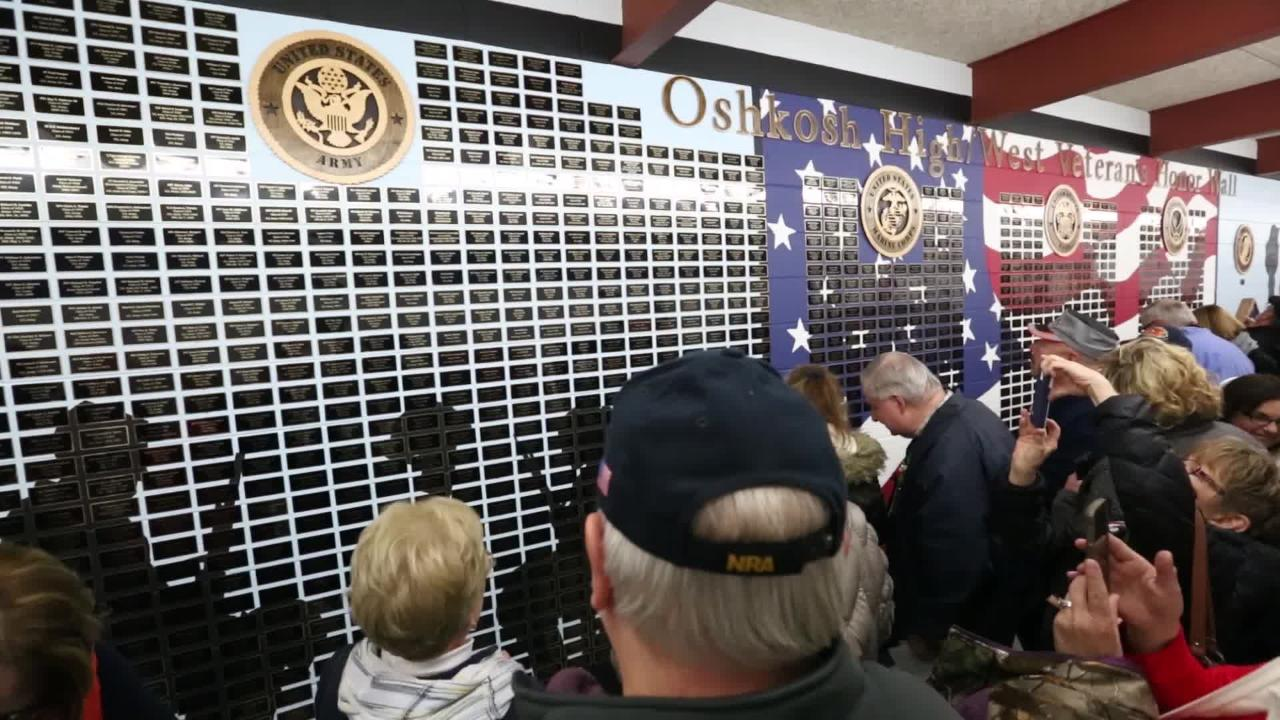 A wall in Oshkosh West High School now holds all the names of students that were or are part of the United States Military.