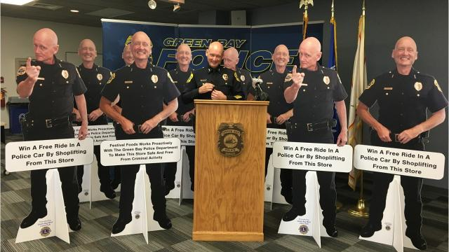 As part of a new approach to shoplifting prevention, life-size cutouts of Green Bay Police chief Andrew Smith will be placed at various stores. The cutouts display messages discouraging retail theft.