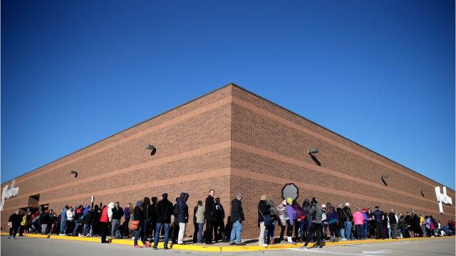 More than 300 people waited in line at Younkers in Grand Chute on Thanksgiving Day.