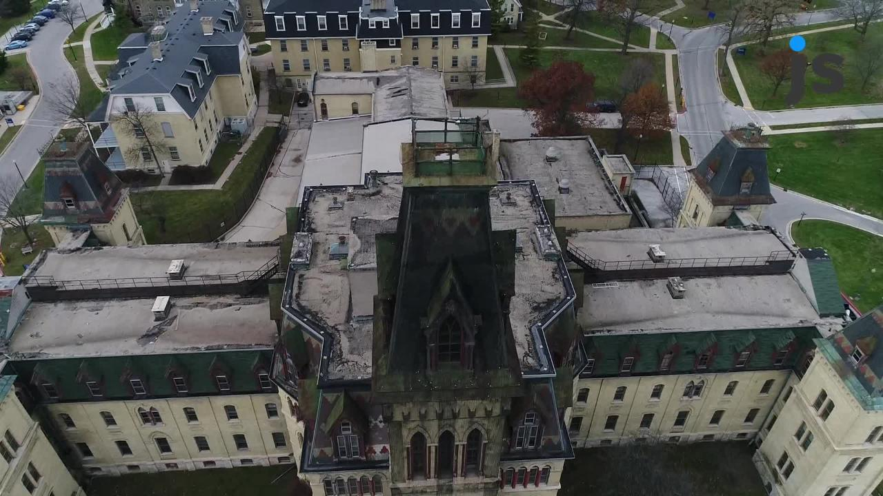 A drone view of Old Main at the VA Soldiers Home