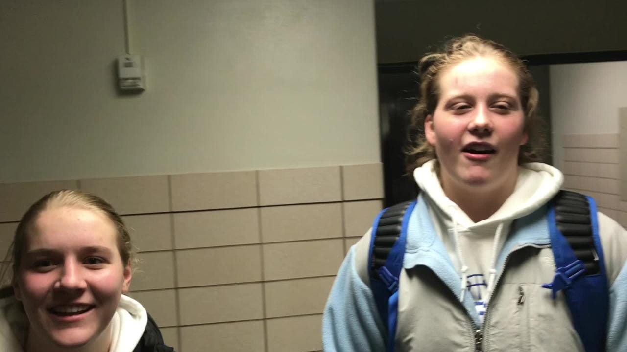 St. Mary's Springs players Gracie Rieder (left) and Emily Mueller talk about Tuesday's win over Lourdes Academy.