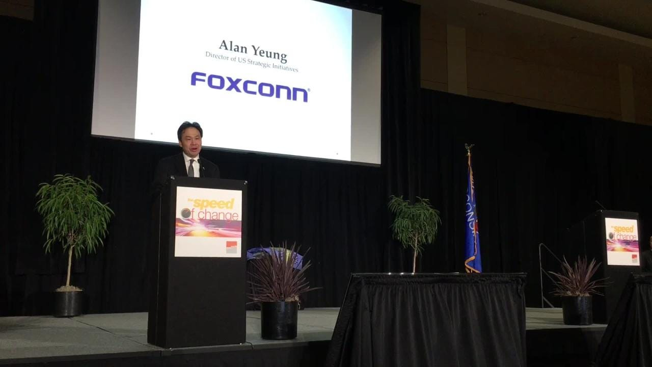 At the New North Summit Thursday, a Foxconn official said northeast Wisconsin companies will be key to fulfilling the company's demands for materials and services once it begins production in Racine County. Dec. 7, 2017.
