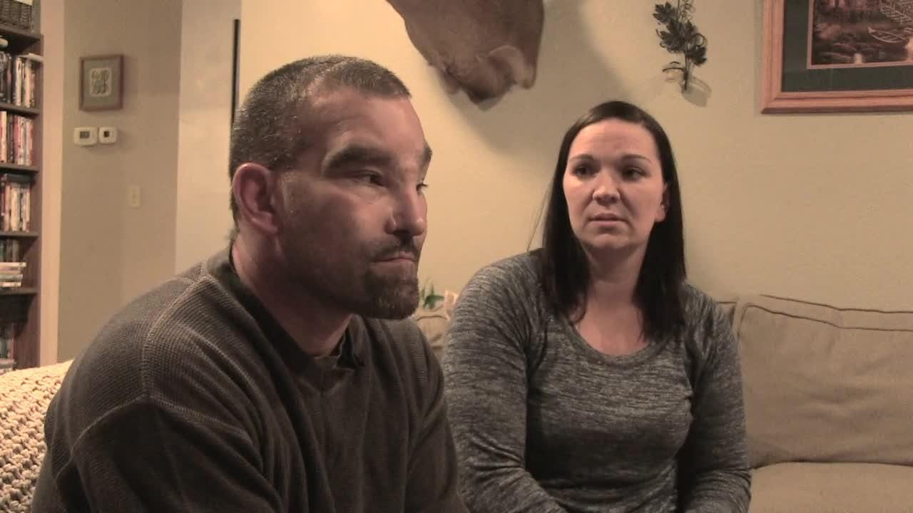 Chad Wang and his wife, Jill, talk about the injuries he suffered as a golf course worker in Hudson, Wis., when he tried to remove the lid of a 55-gallon drum with a torch. The drum exploded, causing him serious head injuries and months of recovery.