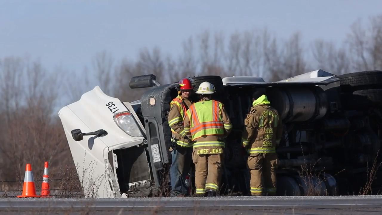 The semi rolled into the median just north of County Highway F, south of Fond du Lac.