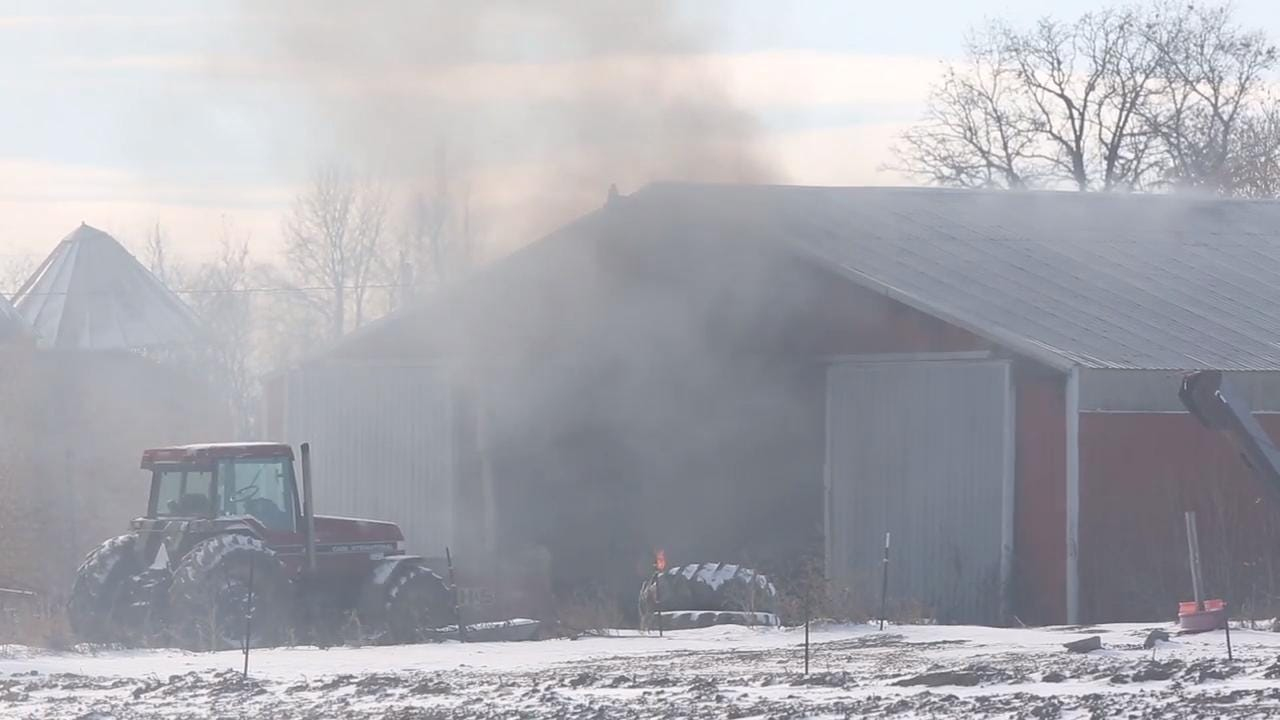 Multiple fire departments were called to fight the fire which was in a shed.