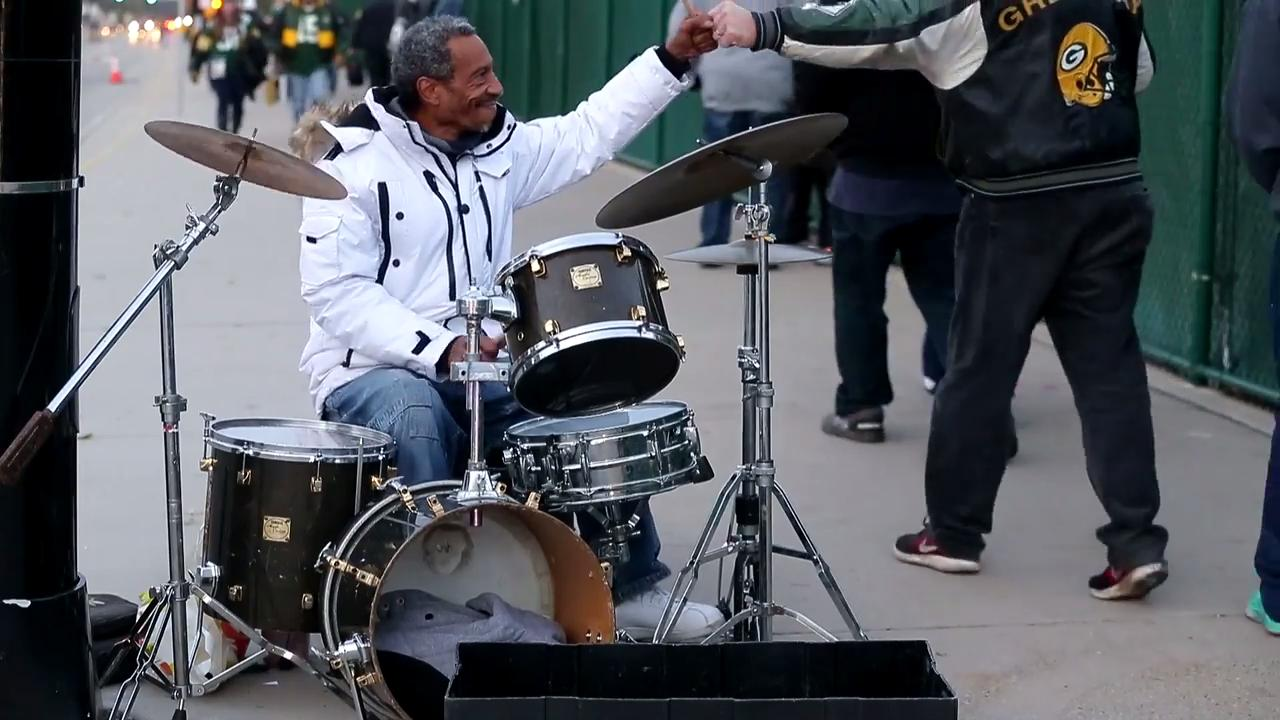 Chicago native Keith Hudson is usually seen playing drums across the street from Lambeau Field on game days. But he has played music around the world and jammed with some blues music icons.