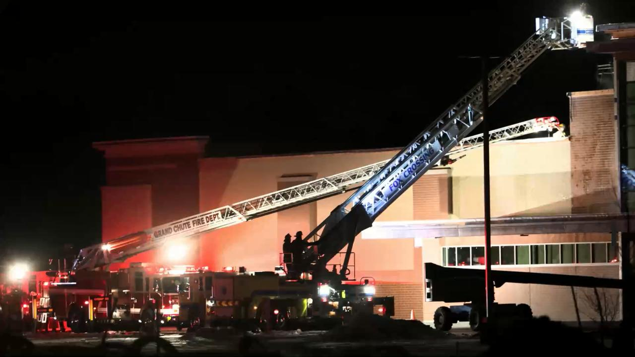 Grand Chute firefighters extinguish a fire at the Meijer store under construction in Grand Chute.