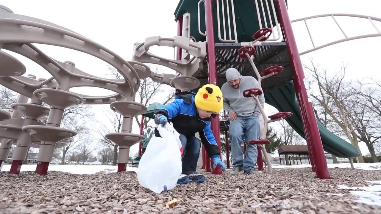 Father/son duo team up to clean up parks