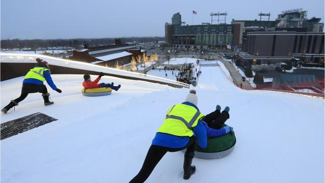 The Green Bay Packers opened Ariens Hill for sledding on Dec. 21