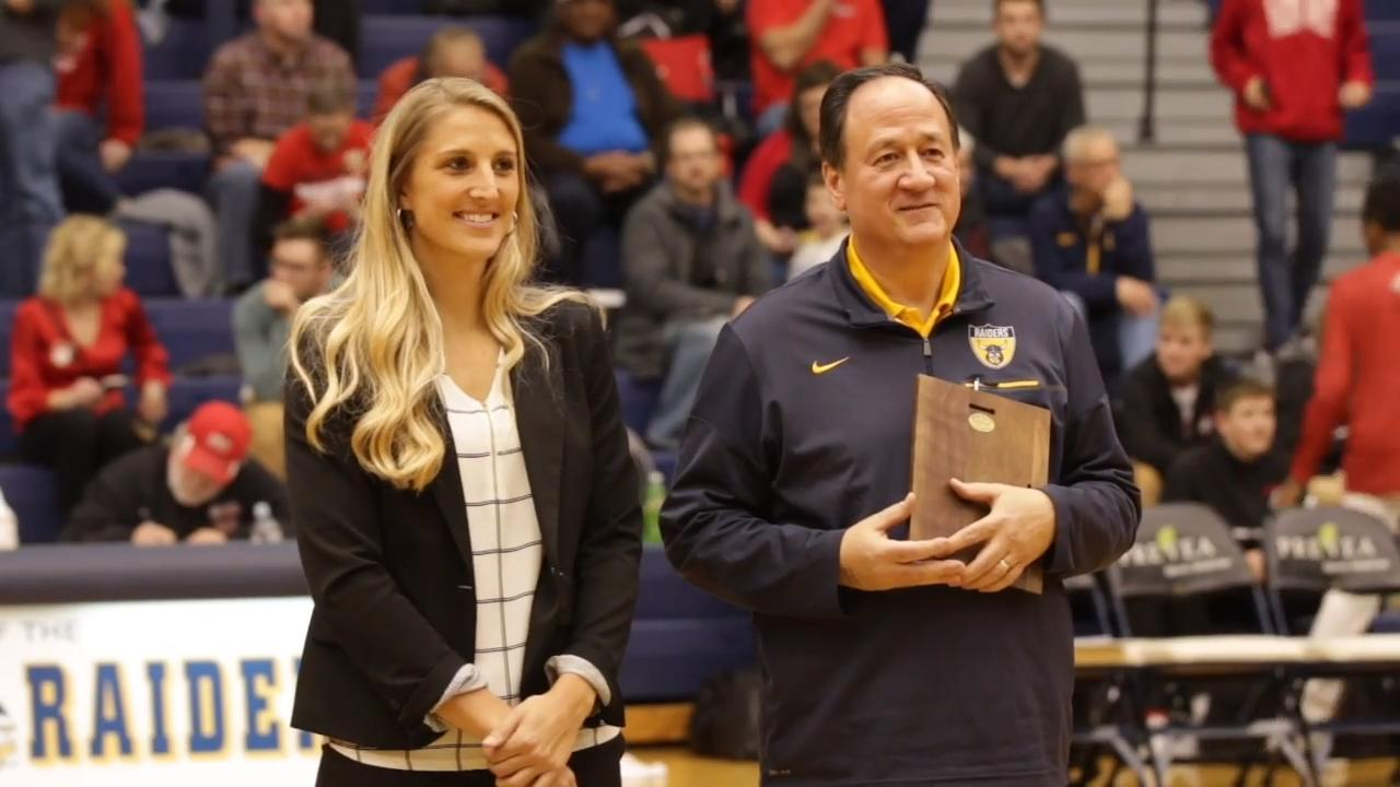 Basketball and tennis standout Kayla Tetschlag was inducted into the Sheboygan North Wall of Fame during a halftime ceremony during the boys game Friday.