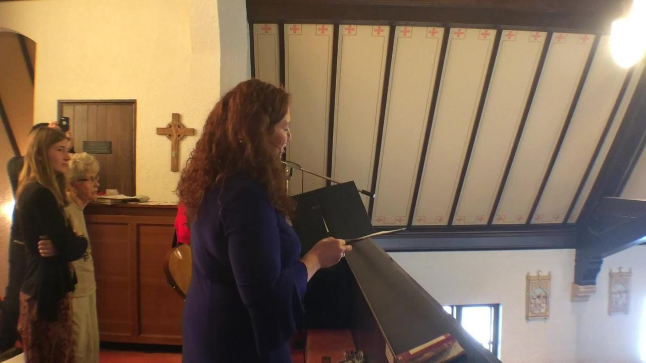 "Esther Heideman sings a verse of ""Silent Night"" in gaelic on Christmas at St. Patrick's Catholic Church in the town of Lebanon, the church where she grew up singing."