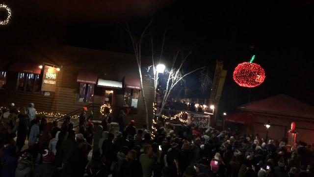 """New Year's Eve revelers in Sister Bay welcomed in the new year with its first """"cherry drop.''"""