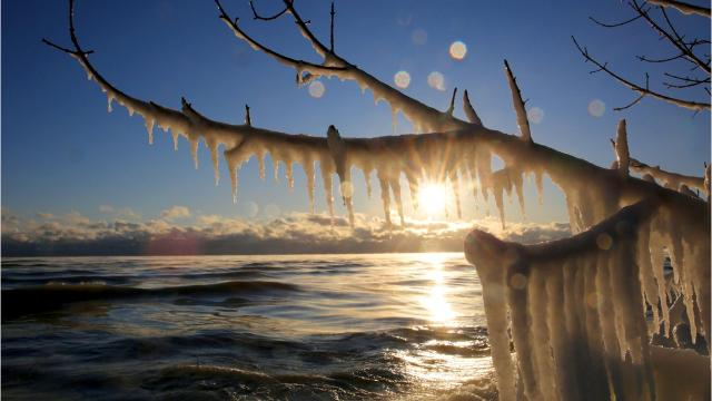 Amazing ice formations along Lake Michigan in Milwaukee