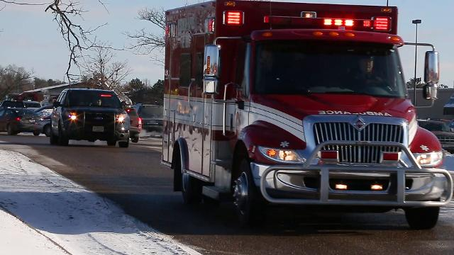 Emergency vehicles led a funeral procession for Wisconsin Rapids firefighter Jim Easton from Crossview Church in Wisconsin Rapids, Wis., to the fire station on Friday, January 5, 2018.