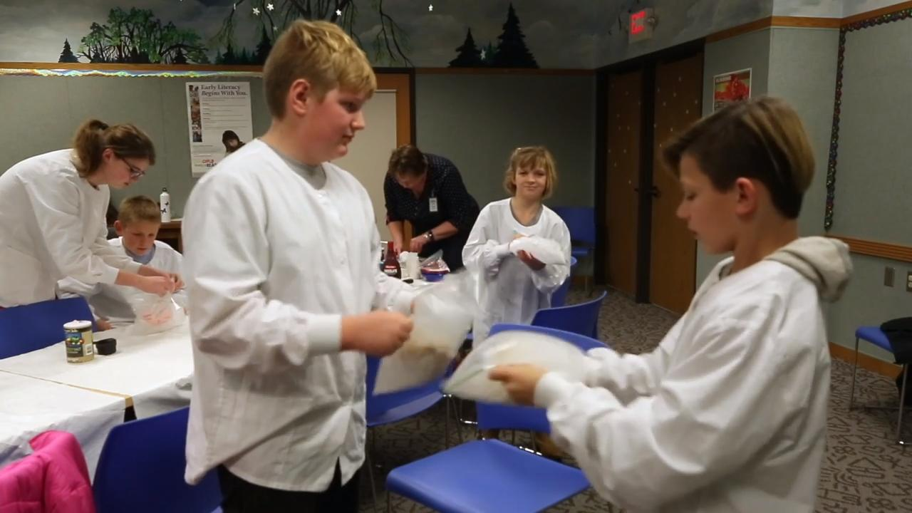 Sheboygan's Mead Public Library held an ice cream making workshop that is part of their after school programs.  Dressed up on lab coats they went onto create a small amount of ice cream using several plastic bags during the program.