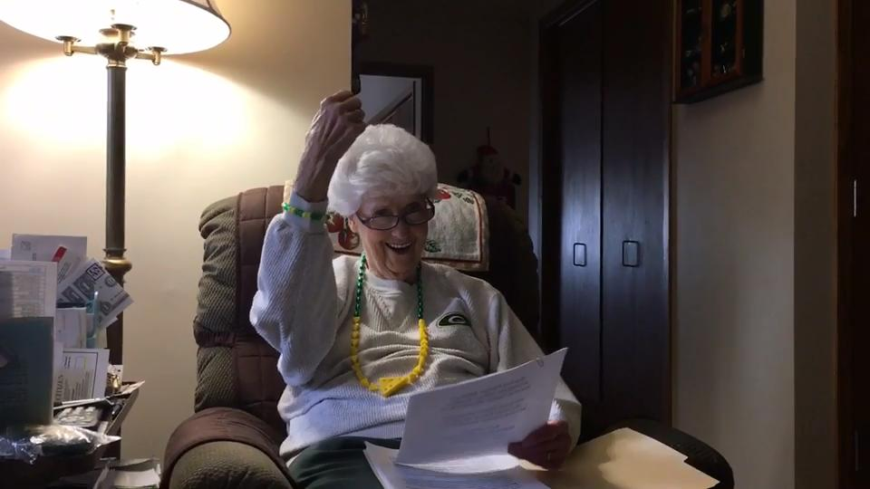 """Green Bay's Marguerite """"Mugs"""" Bachhuber, 87, is a finalist for the Packers Fan Hall of Fame."""