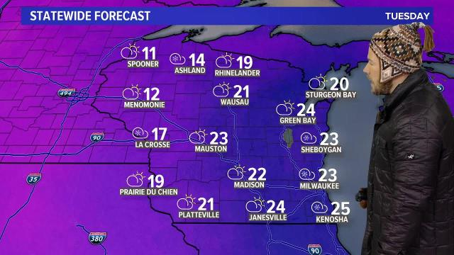 Wisconsin weather forecast for Tuesday, Jan. 16