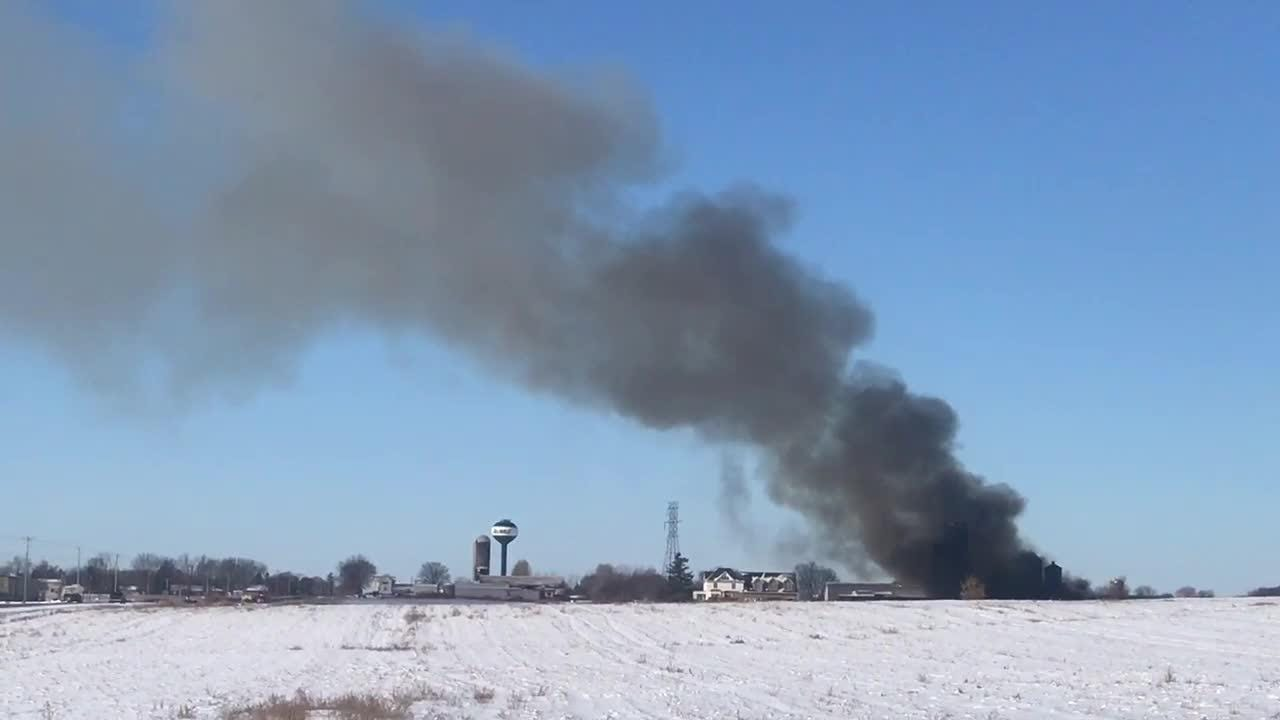 Firefighters battled a barn fire Tuesday morning in Ellington.