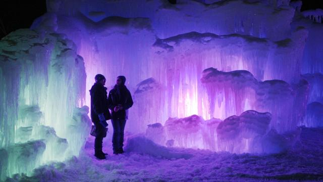 Photos of ice castles in the United States and Canada