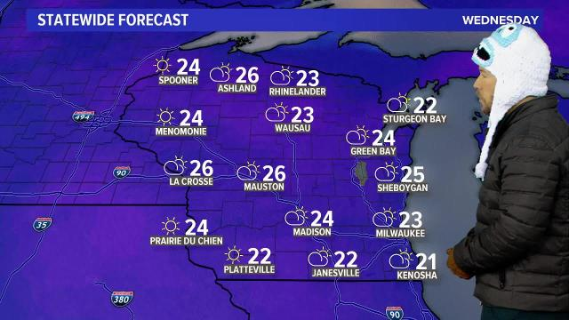 Wisconsin weather forecast for Wednesday, Jan 17