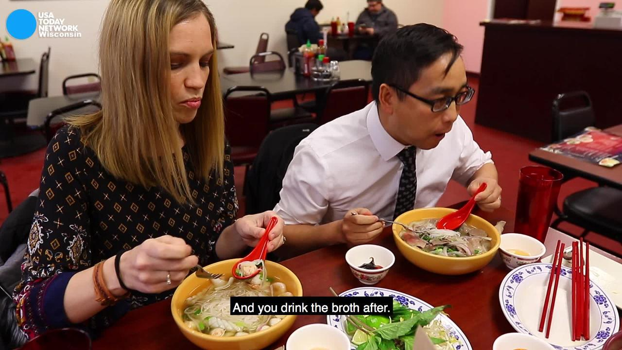 Long Lo and Angie Wells give an overview of how to eat pho. (Jan. 22, 2018)