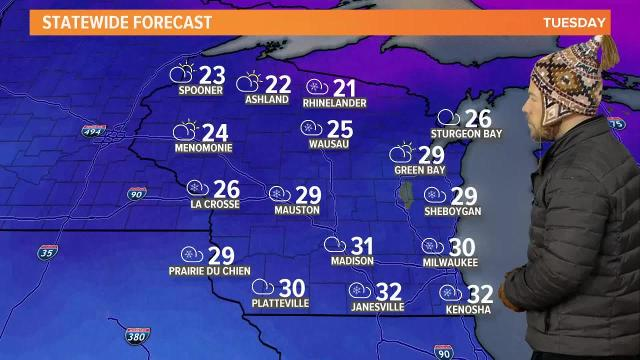 Wisconsin weather forecast for Tuesday, Jan. 23