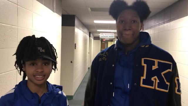Milwaukee King's Tishara Morehouse and Sydnee Roby discuss the team's victory over Appleton North Saturday.