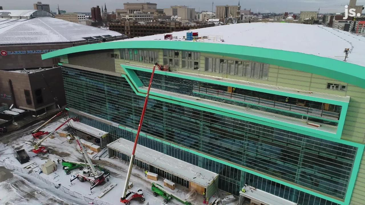 Take an aerial look at the construction progress of the new Milwaukee Bucks arena. The progress is well past the 75% mark and nearing its completion slated for start of the 2018-'19season.