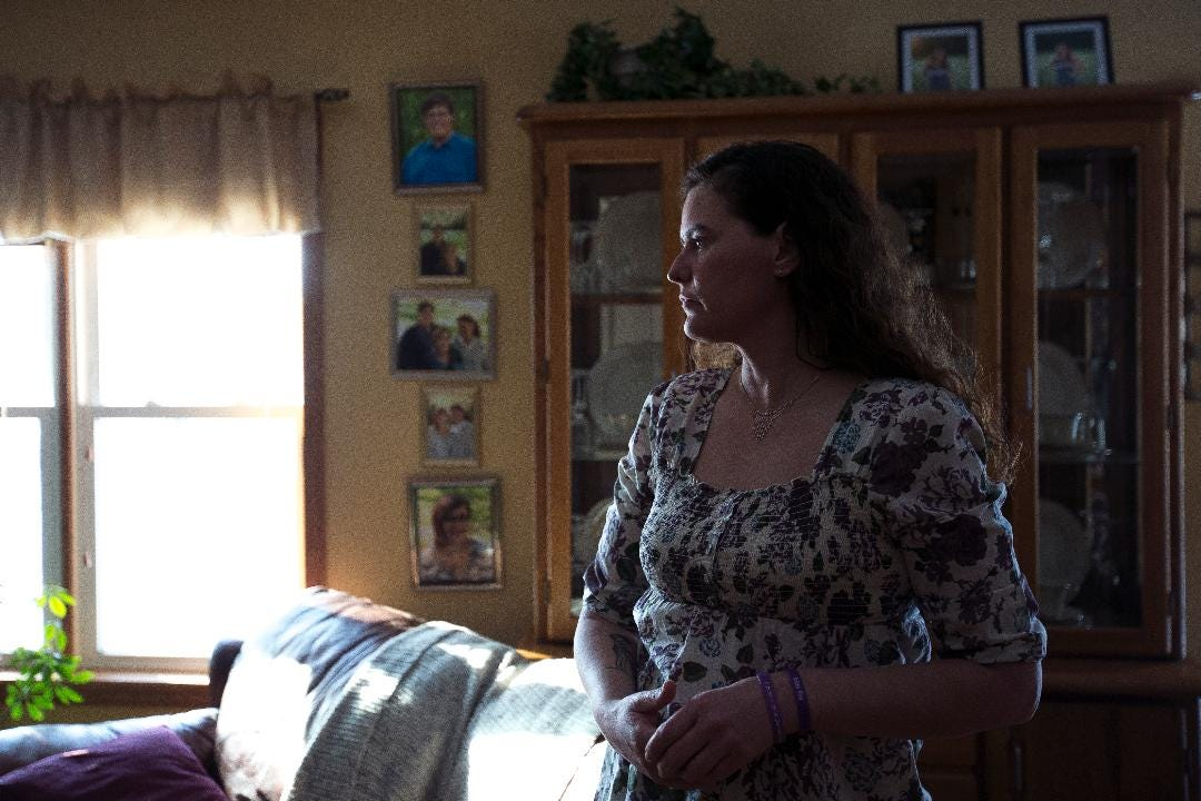 Missy Ojibway speaks in her home in Jim Falls, Wis. on January 26, 2018, about her daughter Megan Eisold who died by suicide when she was 16.